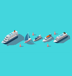 isometric ferries yachts boats passenger ships vector image