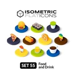 Isometric flat icons set 55 vector image
