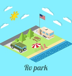 Isometric summer RV camping on cost of Pacific vector
