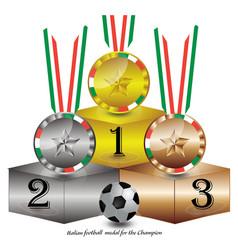 Italian football medal for champion vector