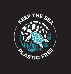 Keep sea plastic free - cartoon turtle vector