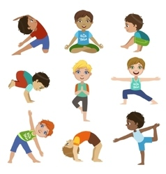 Little Boys Doing Yoga Set vector