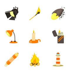 Luminous objects icons set cartoon style vector