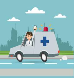 man ambulance phone city background vector image