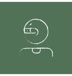 Man in augmented reality glasses icon drawn chalk vector