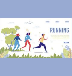 Morning running flat landing page template vector