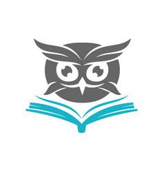 Owl open book logo design template isolated vector