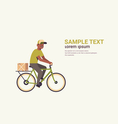 postman in uniform riding bicycle carrying vector image