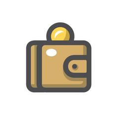 Purse and coins icon cartoon vector