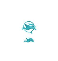rabbit communication logo icon vector image
