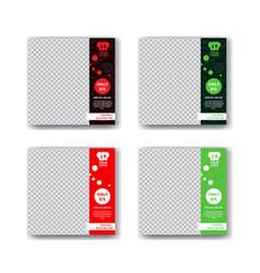 Red and green restaurant social media post design vector