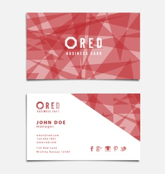 Red Themed Business Card Template vector