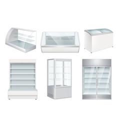 refrigerator empty supermarket retail equipment vector image