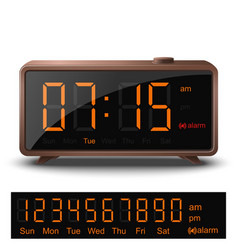 Retro digital alarm clock with orange numbers vector
