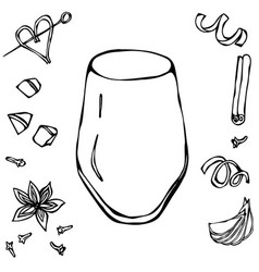 Rocks glass coctail tumbler hand drawn vector