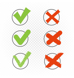 round check box set yes no sign vector image