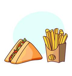 Sandwich potato fry cartoon set isolated vector