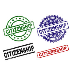 Scratched textured citizenship seal stamps vector