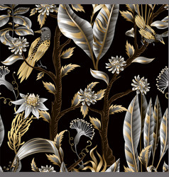 seamless pattern with golden and metallic leaves vector image