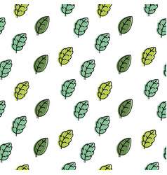 seamless pattern with green leaves on a white vector image