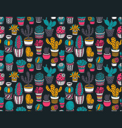 Seamless pattern with hand drawn cactuses vector
