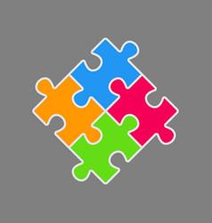 set four pieces puzzle square 4 steps puzzle vector image