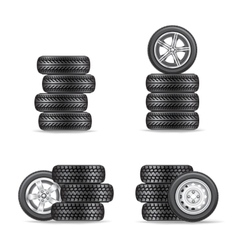 set of tires for cars vector image