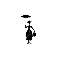 Silhouette girl floats with umbrella in his hand vector