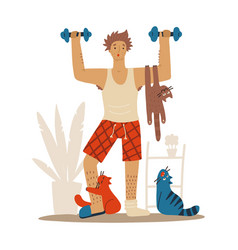 sloppy man with cats doing workoutat home cats vector image
