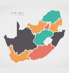South africa map with states and modern round vector