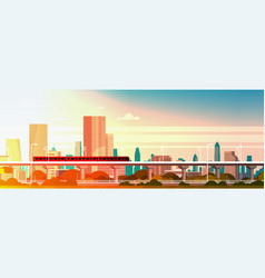 Subway train over sunset in modern city panorama vector