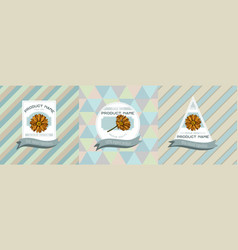 three colored labels with calendula vector image