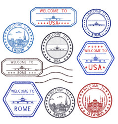 tourist ink stamps from different countries and vector image