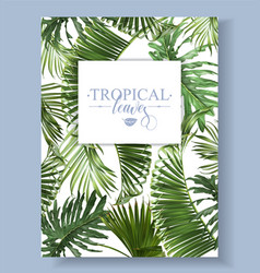 Tropical leaves frame vector