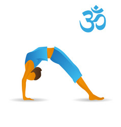 Upward bow or wheel yoga pose vector