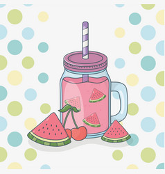 watermelon juice fruit in pot with straw vector image