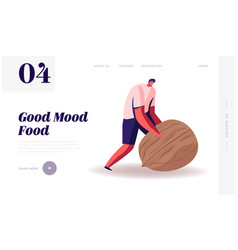 Wellbeing lifestyle website landing page man vector
