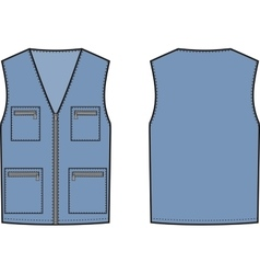 Work vest Front and back vector image