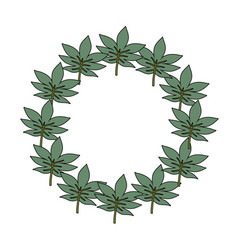 wreath of tropical leaves icon vector image