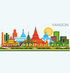Yangon myanmar city skyline with color buildings vector