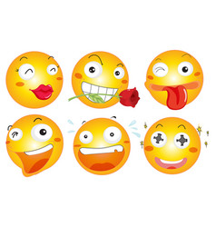 yellow ball with different facial expressions vector image