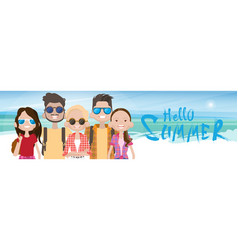 Young people group on sea shore sand beach summer vector