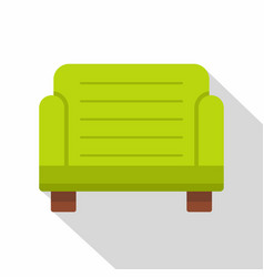 green armchair icon flat style vector image