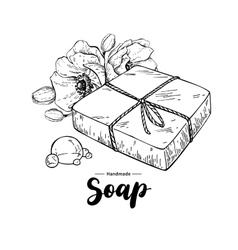Handmade natural soap hand drawn organic vector image