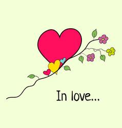 tree heart in cartoon style vector image