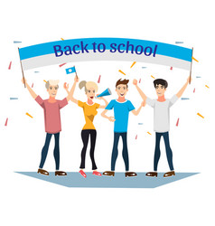 back to school banner with ribbon vector image vector image