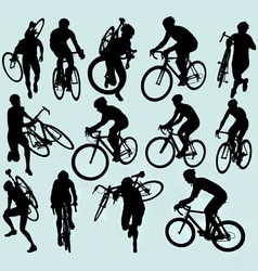 Cyclocross racing silhouettes vector