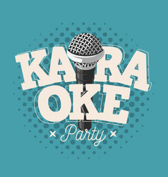 karaoke label sign design with microphone vector image vector image