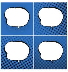 set of blue pop art retro speech bubble vector image