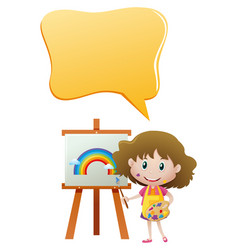 speech bubble template with girl painting vector image
